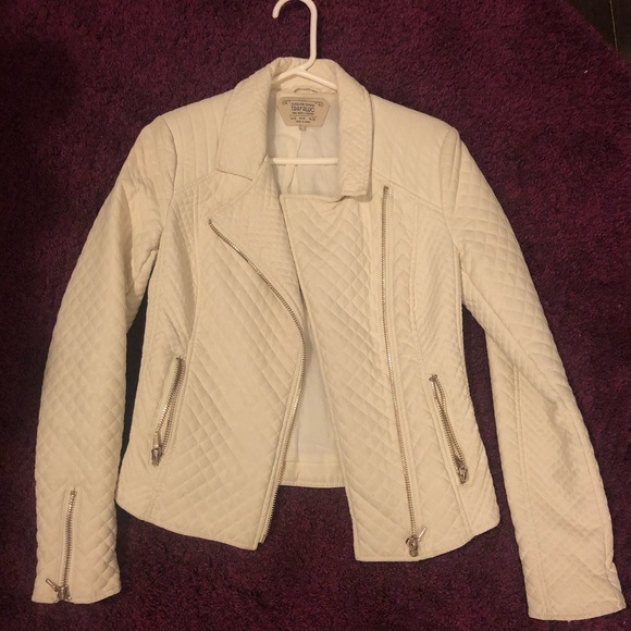 BNWOT Zara White Leather Jacket